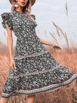 Floral Printed Summer Dress Ruffled Short Sleeve Bowknot V-Neck Flounced Hem Long Swing Dresses