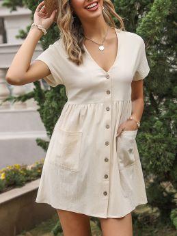 Summer Dress Short Sleeve V-Neck Single Breasted Solid Color Pockets Draped Short Casual Shirt Dresses
