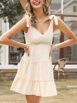 Summer Dress Bowknot Straps V-Neck Backless Ruffled Cotton Linen Short Vest Dresses