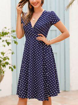 Polka Dot Printed V-Neck Short Sleeve Belted Long Split Chiffon Summer Dress
