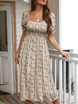 Summer Dress Puff Short Sleeve Square Neck Printed Pleated Holiday Split Casual Long Dresses