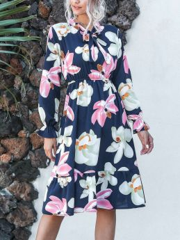 Spring Summer Casual Floral Printed Long Sleeve Bow Tie Neck Flounced Hem Chiffon Midi Dress
