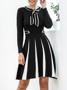 Women Casual Black and White Contrast Color Long Sleeve Bow Tie Neck Buttons Short Knitted Sweater Dress