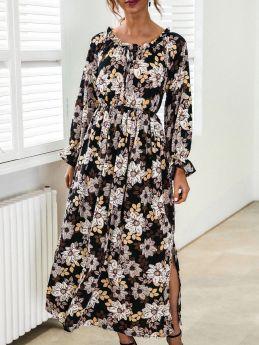 Spring Summer Off the Shoulder Bell Long Sleeve Drawstring Floral Printed Maxi Split Black Dress