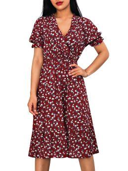 Summer Dress Casual V-Neck Short Sleeve Floral Printed Flounced Hem Chiffon Midi Dresses