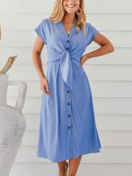 Short Sleeve V-Neck Single Breasted Solid Color Bowknot Casual Long Summer Dress