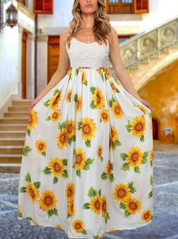Straps Open Back Lace Floral Printed Stitching Maxi Summer Dress