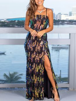 Spring Summer Straps Backless Colorful Sequins Maxi Split Party Evening Prom Dress
