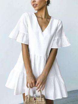 Solid Color V-Neck Short Sleeve Ruffled Short A-Line Summer Dress