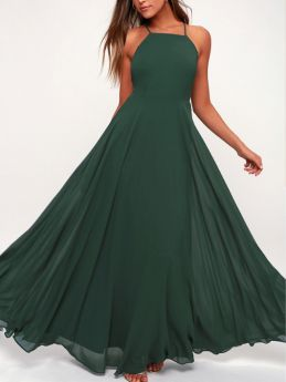 Halter Slip Open Back Criss-cross Solid Color Chiffon Maxi Bridesmaid Evening Party Dress