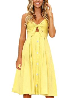 Straps Open Back Pleated Bowknot Cut Out Single Breasted Midi Summer Dress