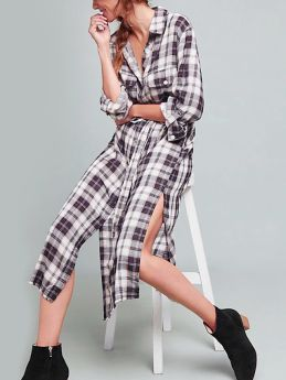 Spring Fall Women Lapel Long Sleeve Plaid Single Breasted Belted Loose Midi Shirt Dress