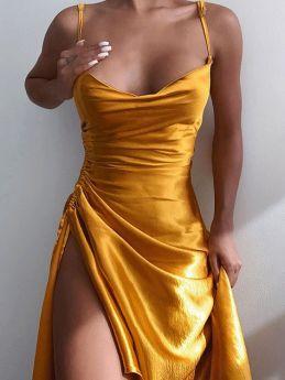 Summer Dress Straps Open Back Solid Color Shirred Split Party Club Midi Dresses