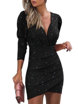 Black Dress Women Long Sleeve V-Neck Bling Bling Irregular Short Party Club Dresses