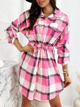 Plaid Long Sleeve Lapel Single Breasted Drawstring Belted Midi Shirt Dress