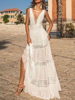 White Dress Sleeveless V-Neck Open Back Lace Hollow Maxi Beach Summer Dresses