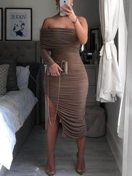 Off the Shoulder Long Sleeve Shirred Irregular Split Midi Bodycon Party Club Dress