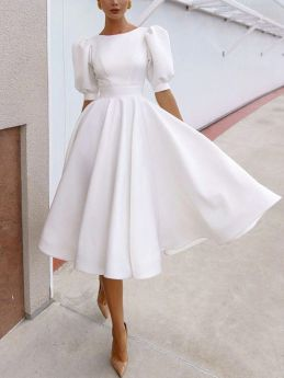 White Dress Lantern Short Sleeve Round Neck Open Back Solid Color Midi Swing Evening Prom Dresses