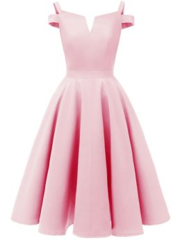 Pink Dress Straps Backless Small V-Neck Solid Color Midi Swing Bridesmaid Evening Prom Dresses