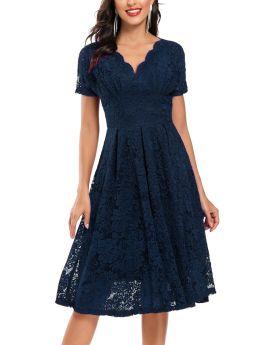 Navy Blue Dress V-Neck Short Sleeve Lace Midi Swing Bridesmaid Evening Prom Dresses