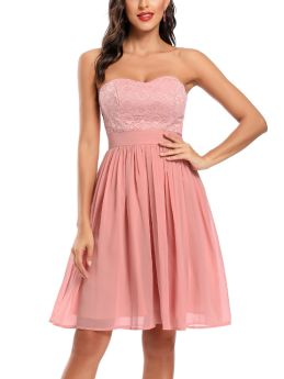 Pink Dress Off the Shoulder Tube Top Open Back Lace Chiffon Stitching Midi Bridesmaid Evening Prom Dresses