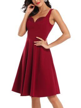 Burgundy Dress Navy blue Dress Vintage Sleeveless V-Neck Open Back Midi Swing Bridesmaid Evening Prom Dresses