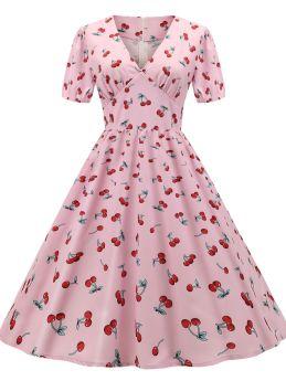 Pink Dress V-Neck Short Sleeve Cherries Printed Midi Swing Vintage Dresses