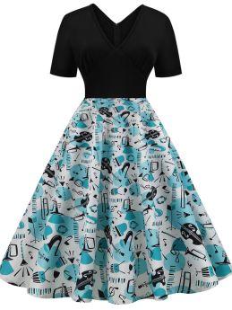 Black Dress Vintage Short Sleeve V-Neck Printed Stitching Color Midi Swing Prom Dresses