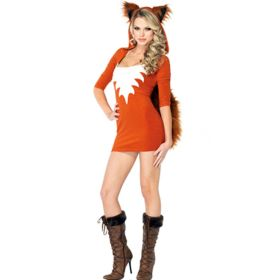 Halloween Adult Fox Cosplay Costume Ghost Bride Game Outfit Women Faux Fur Hooded Short Dress