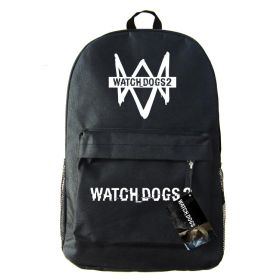 Game Watch Dogs 2 Unisex Students School Bag Black White Casual Backpacks